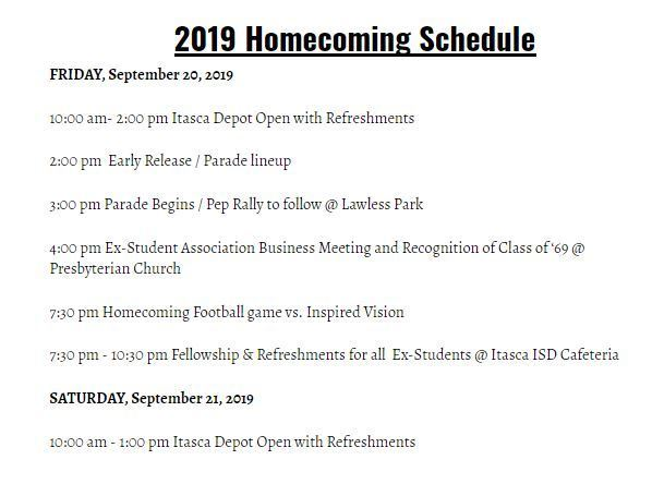 Homecoming 2019 Schedule