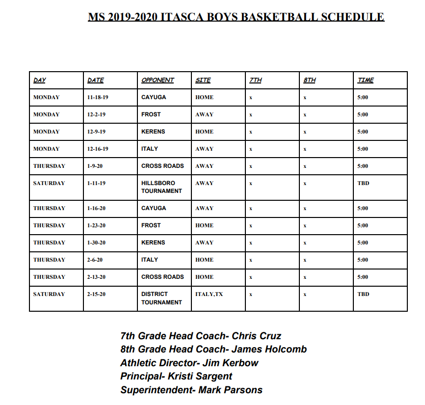 2019-2020 Junior High Boys Basketball Schedule